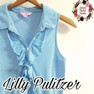 Lilly Pulitzer small blue ruffle top